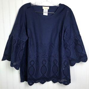 ALESSA W Navy Blue Lace Blouse 100% Cotton M NWOT